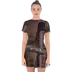 Hong Kong At Night Skyline Drop Hem Mini Chiffon Dress by Nexatart