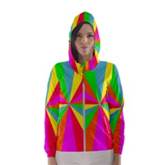 Neon Rainbow Burst Hooded Windbreaker (women) by PodArtist