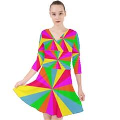 Neon Rainbow Burst Quarter Sleeve Front Wrap Dress by PodArtist