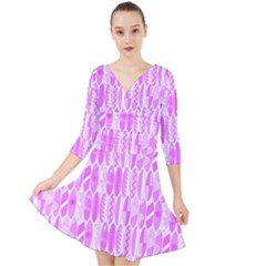 Bright Pink Colored Waikiki Surfboards  Quarter Sleeve Front Wrap Dress by PodArtist