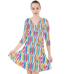 Rainbow Colored Waikiki Surfboards  Quarter Sleeve Front Wrap Dress by PodArtist