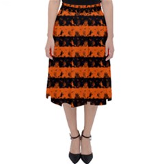 Orange And Black Spooky Halloween Nightmare Stripes Classic Midi Skirt by PodArtist