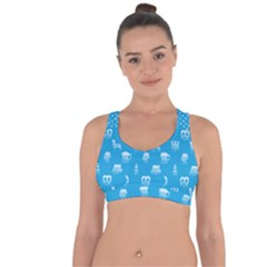 Oktoberfest Bavarian October Beer Festival Motifs In Bavarian Blue Cross String Back Sports Bra by PodArtist