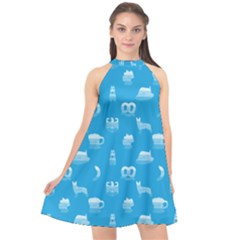 Oktoberfest Bavarian October Beer Festival Motifs In Bavarian Blue Halter Neckline Chiffon Dress  by PodArtist