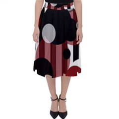 Black White Red Stripes Dots Classic Midi Skirt by bloomingvinedesign