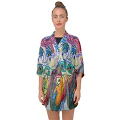 Watercolor Mermaid Half Sleeve Chiffon Kimono by chellerayartisans