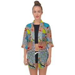Cosmic Moon Angel Open Front Chiffon Kimono by chellerayartisans