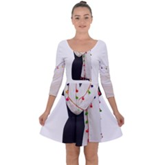 Indiahandycrfats Women Fashion White Dupatta With Multicolour Pompom All Four Sides For Girls/women Quarter Sleeve Skater Dress by Indianhandycrafts