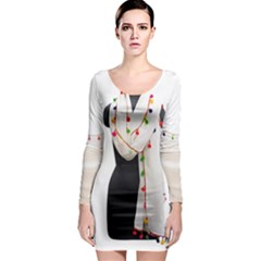 Indiahandycrfats Women Fashion White Dupatta With Multicolour Pompom All Four Sides For Girls/women Long Sleeve Bodycon Dress by Indianhandycrafts