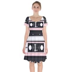Pink Compact Cassette Short Sleeve Bardot Dress