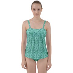 Victorian Teal Ornamental Twist Front Tankini Set by snowwhitegirl