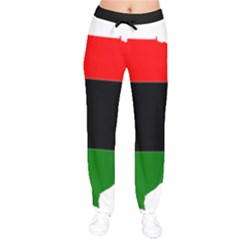 Pan African Flag Map Of United States Velvet Drawstring Pants by abbeyz71