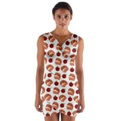 Pasta Pattern Wrap Front Bodycon Dress by snowwhitegirl
