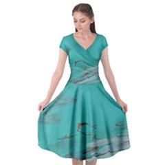 Copper Pond Cap Sleeve Wrap Front Dress