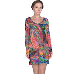 Rainbow Bubbles Abtract Long Sleeve Nightdress by bloomingvinedesign