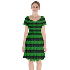 Alien Green And Black Halloween Nightmare Stripes  Short Sleeve Bardot Dress by PodArtist