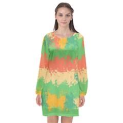 Spots In Retro Colors                                       Long Sleeve Chiffon Shift Dress by LalyLauraFLM