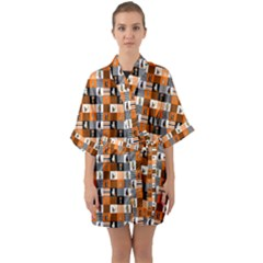 Witches, Monsters And Ghosts Halloween Orange And Black Patchwork Quilt Squares Quarter Sleeve Kimono Robe by PodArtist