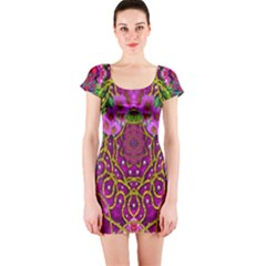 Star Of Freedom Ornate Rainfall In The Tropical Rainforest Short Sleeve Bodycon Dress by pepitasart