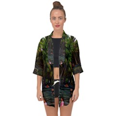 Hawaiian Beach Abstract Open Front Chiffon Kimono by bloomingvinedesign