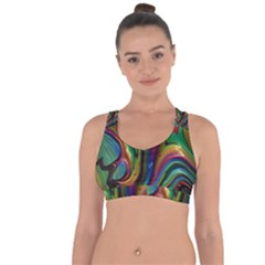 Rainbow Liquid Fractal Cross String Back Sports Bra by bloomingvinedesign