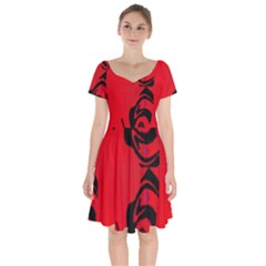 Red And Black Design By Flipstylez Designs Short Sleeve Bardot Dress by flipstylezdes