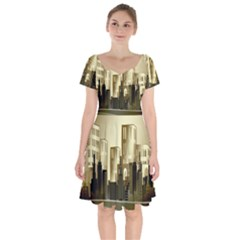 Architecture City House Short Sleeve Bardot Dress by Samandel