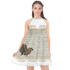 Tag Bird Halter Neckline Chiffon Dress  by vintage2030