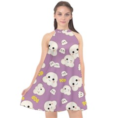 Cute Kawaii Popcorn Pattern Halter Neckline Chiffon Dress  by Valentinaart