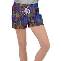 Colorful Waves                                             Women s Velour Lounge Shorts by LalyLauraFLM