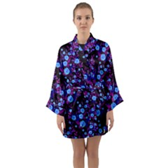 Purple Blue  Roses Long Sleeve Kimono Robe by snowwhitegirl