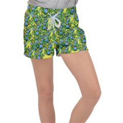 Blue Luminescent Roses Yellow Women s Velour Lounge Shorts by snowwhitegirl