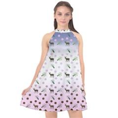 Ombre Deer Pattern Halter Neckline Chiffon Dress  by snowwhitegirl