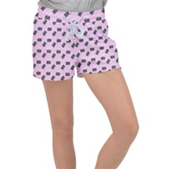Retro Typewriter Pink Pattern Women s Velour Lounge Shorts by snowwhitegirl