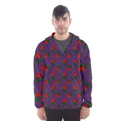Red Roses Purple Hooded Windbreaker (men) by snowwhitegirl