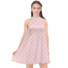 Little  Dots Pink Halter Neckline Chiffon Dress  by snowwhitegirl