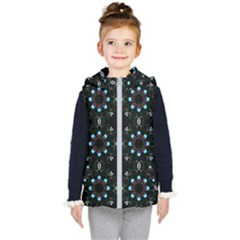 Embroidery Paisley Black Kid s Hooded Puffer Vest