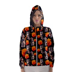 Girl With Roses And Anchors Black Hooded Windbreaker (women) by snowwhitegirl