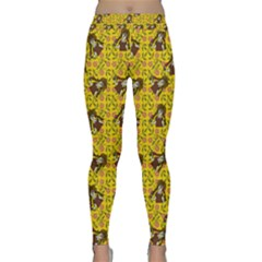 Girl With Popsicle Yellow Floral Classic Yoga Leggings by snowwhitegirl