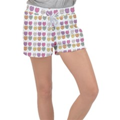 Valentine Hearts White Women s Velour Lounge Shorts by snowwhitegirl