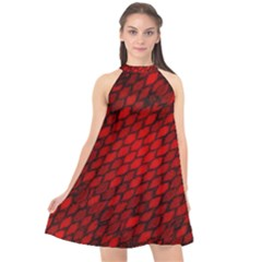 Red Dragon Scales Halter Neckline Chiffon Dress  by bloomingvinedesign