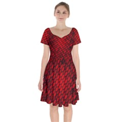 Red Dragon Scales Short Sleeve Bardot Dress by bloomingvinedesign