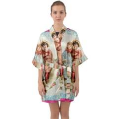 Kids Heart Quarter Sleeve Kimono Robe by vintage2030