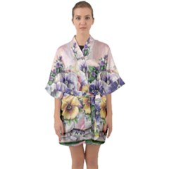 Lowers Pansy Quarter Sleeve Kimono Robe by vintage2030