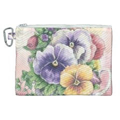 Lowers Pansy Canvas Cosmetic Bag (xl) by vintage2030