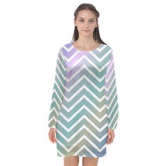 Zigzag Line Pattern Zig Zag Long Sleeve Chiffon Shift Dress  by Sapixe