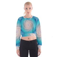 Decorative Background Blue Cropped Sweatshirt by Sapixe