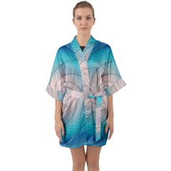 Decorative Background Blue Quarter Sleeve Kimono Robe by Sapixe