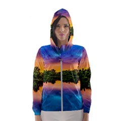 Sunset Color Evening Sky Evening Hooded Windbreaker (women) by Sapixe