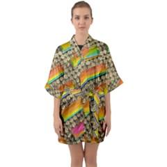 Colors Color Live Texture Macro Quarter Sleeve Kimono Robe by Sapixe
